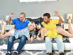 The deviant dads agree, spanking their daughters booties red. But the gals start smooching in the middle of it! Soon, the penalty turns into an all out orgy, with the gals exchanging finishes off to let them open up out their cock-squeezing vagina lips. T