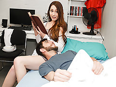 When Logan is sick at home, he calls his stepsis Nina Skye, to come over and take care of him. An unconventional problem solver, she places the book in front of her stepbros cock. She fumbles up and down his fuck-stick while he's having a utter conversati