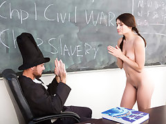 Lovely sumptuous teenager college girl Adria Rae gets banged by a horny teacher wearing a Lincoln costume inwards the classroom.