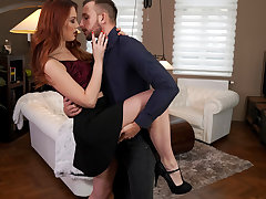 Lovely and lusty Charlie Red dances with her rendezvous before heading to the bedroom to love a trimmed snatch stiffie rail
